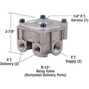 Bendix 065125 R-12 Relay Valve - Horizontal Delivery Ports, 5.5 PSI Crack Pressure