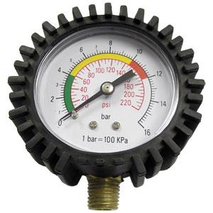 """Air Pressure Gauge, 10-220 PSI, 1/4"""" Male NPT"""
