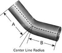 "45 Degree 5"" OD-OD Exhaust Elbow, 8"" Legs, 5.50"" Centerline Radius"