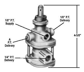 """Bendix 289477X PP-3 Auto Tripper Push/Pull Valve, 1/8"""" NPT Delivery Ports At Top Of Valve"""