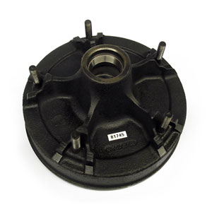 """Demountable Hub/Drum for Dexter Axles, with Bearing Cups and Wheel Studs, 9/16"""" Studs, Grease"""