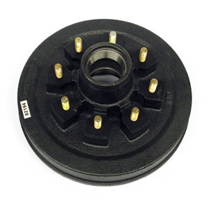 "Hub/Drum for Dexter 5.5K-7K Axles, with Bearing Cups and Wheel Studs, 5/8"" Studs, Grease"