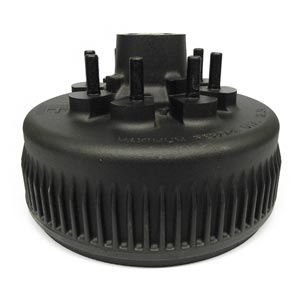 """Hub/Drum for Dexter 8K Trailer Axles, Bearing Cups and Wheel Studs, 8 on 6.50"""", 5/8"""" Stud, Grease"""