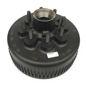 """Hub/Drum for Dexter 8K Trailer Axles, with Bearing Cups and Wheel Studs, 8 on 6.50"""", 5/8"""" Stud, Oil"""