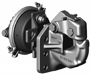 SAF Holland PH-410RA11 50-Ton Rigid Type Pintle Hook With Air Cushioned Snubber, Tall Mount Pattern