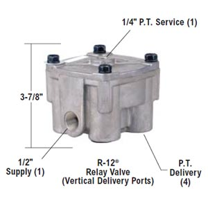 "Bendix 102626X R-12 Relay Valve with Vertical Del Ports, 4 PSI Crack Pressure, 1/2"" NPT Del Ports"