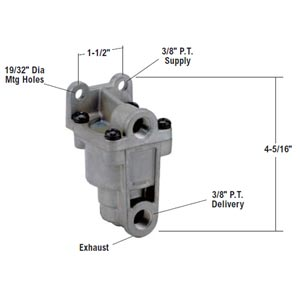 Bendix 289144X LQ-4 Front Axle Ratio Valve, 4 PSI Hold Off Pressure, 60 PSI Equalizing Pressure