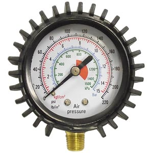 "Air Pressure Gauge, 10-220 PSI, 1/8"" Male NPT"
