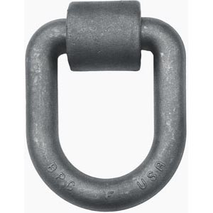 "Forged D-Ring with Weld-On Mounting Bracket, 1"" Dia. Ring, 15,586 lbs. WLL"