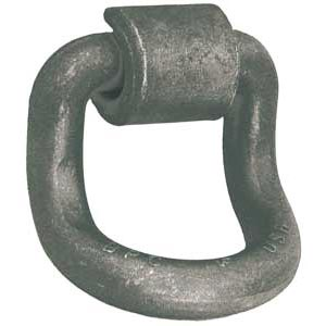 "Forged D-Ring with Weld-On Mounting Bracket, 1"" Dia. Ring, 15,586 lbs. WLL, 55 Degree Bend"