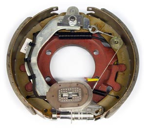 "12-1/4"" x 3-1/2"" LH Electric Brake Assy with 5 Hole Backing Plate, Replaces Rockwell American 4738-L"
