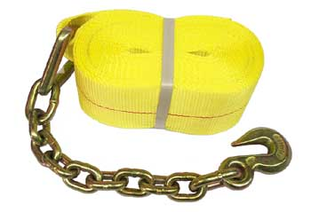 "4"" x 30 ft. Winch Strap with Chain Anchor End, 5,400 lbs. Working Load Limit"
