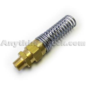 "3/8"" NPT Hose Connector with Spring Guard for 3/4"" OD x 3/8"" ID Rubber Air Brake Hose"