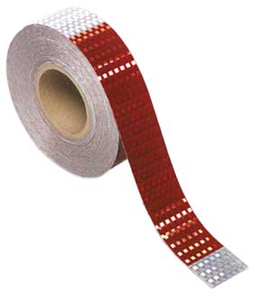 "Grote 41160 Red/Silver Conspicuity Tape, 2"" x 150' Roll, DOT Approved"