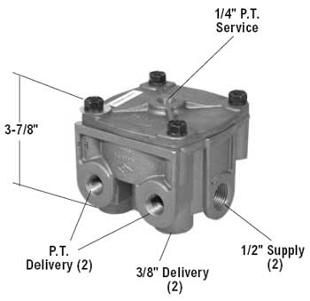 Bendix 065303 R-12 Relay Valve - 2 Horizontal & 2 Vertical Delivery Ports, 4 PSI Crack Pressure