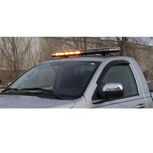10 Function, Amber LED, Clear Lens Full-Size Light Bar Warning Light - 10-30 VDC