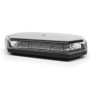10 Function, Amber LED, Clear Lens Mini Light Bar Warning Light with Magnet Mount - 10-30 VDC