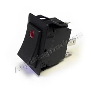 "Full Size Rocker Switch, Single Pole/Single Throw, 21A @ 14 VDC, 0.25"" Flat Blade Terminals, Red LED"