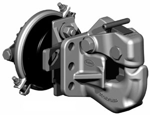 SAF Holland PH-310RA11 50-Ton Rigid Type Pintle Hook With Air Cushioned Snubber, Wide Mount Pattern