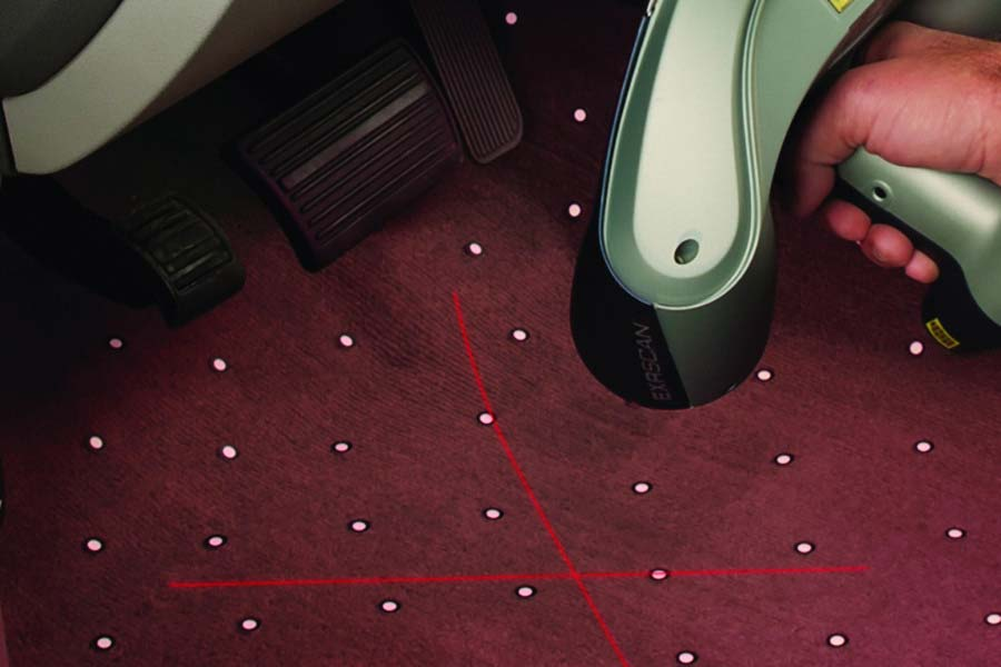 Laser mapping the floor pan