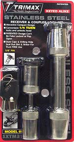 "Trimax Stainless Receiver and Coupler Lock Set - Couplers Up To 7/8"" Wide"