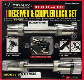 "Trimax Stainless Receiver and Coupler Lock Set - Couplers Up To 2-1/2"" Wide"