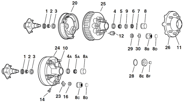 Dexter 5.5K - 7K Capacity Axle Parts Breakdown