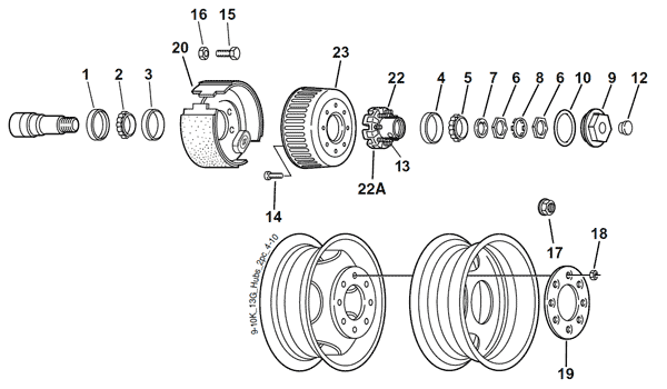 Dexter 9K, 10K, and 13G Two-Piece Hub & Drum Axle Parts Breakdown