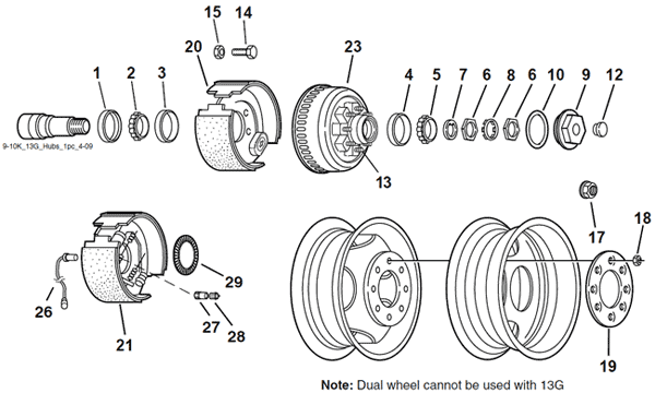 Dexter 9K, 10K, and 13G Two-Piece Hub & Drum Axle Parts After April 2013 Breakdown