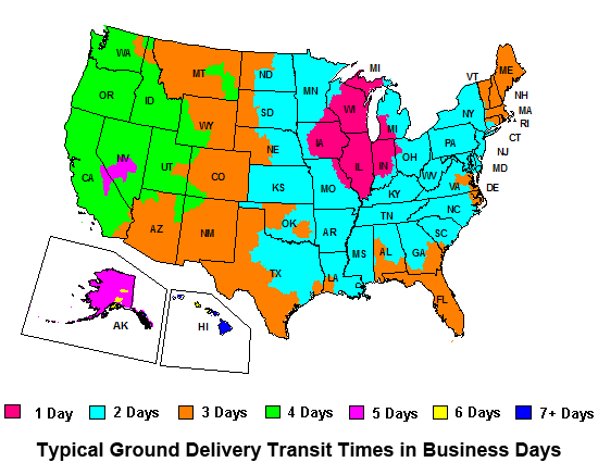 Typical ground delivery transit times in business days.